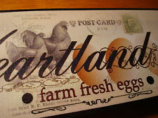 HEARTLAND FARM FRESH EGGS Country Rooster & Hen Chicken Kitchen Wall Decor Sign