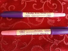 2  ERASABLE MARKING PEN Fabric Tailors Chalk Twin Tip Pink & Violet Chako Ace