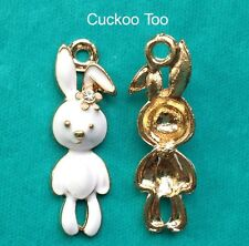 5 x WHITE RABBIT CHARMS -  Gold Plated Enamel Rhinestone Alice