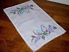 Vintage Embroidered Linen Doily with Cross Stitched Bird and Crocheted Edge