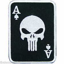 Punisher Skull Ace of Spades Playing Casino Cards Biker Rock Iron on Patch CP002