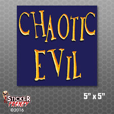Chaotic Evil Alignment Sticker Decal Bumper Car Laptop RPG Tabletop Video Gaming