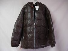 NWT Men's FUBU Leather Duck Down Filled Coat w/ Hood 3XL Brown SR 450.00 #301D