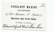 Biglietto Levatrice Ostetrica Penelope Marini Quartiere S. Spirito Firenze 1800