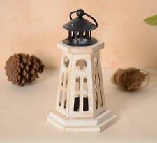 Retro White Wood Lighthouse Hand Held Candle Holder Stand Home Decor 24CM