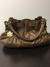 AUTHENTIC JUICY COUTURE BROWN Distressed LEATHER HOBO BAG PURSE Rtl. $398.00