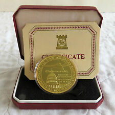 CONCORDE 1976 LONDON - WASHINGTON HM GOLD ON SILVER PROOF CROWNMEDAL - boxed/coa