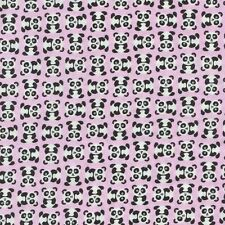 TINY PANDA BEARS ON PINK Cotton Fabric BTY for Quilting, Craft Etc