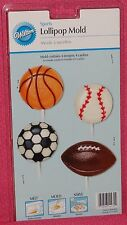 Sports,Balls,Chocolate Candy Lollipop Mold, Wilton,Clear Plastic,2115-4432