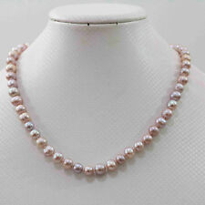 New Natural pink purple 7-8mm akoya freshwater pearl necklace 18""