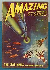 Pulp Amazing Stories 1947 Sept.The Star King by Edmond Hamilton Rocket EXPLOSION