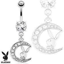 316L Surgical Steel Navel Ring  Playboy Bunny with Paved Gemmed Moon Dangle