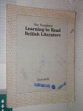 LEARNING TO READ BRITISH LITERATURE Roy Boardman Zanichelli 1994 linguistica di