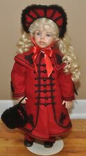 """Victorian Porcelain Doll 20"""" Tall With Glass Eyes, Open Nose and Mouth w/Teeth"""