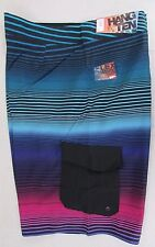 HANG TEN Men's Super Stripe Cargo Board Shorts Swim Swimsuit Black Blue 38 NEW