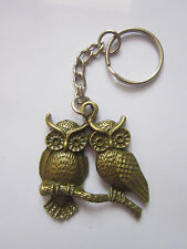 Key Chain Ring antique bronze  owl charm pendant gift present accessory
