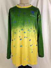 Columbia PFG Omni Shade Mens Fishing Shirt 2XL XXL Sz Green Yellow Outdoor Camp
