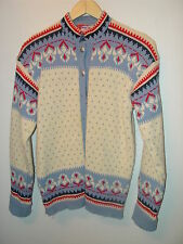 VIKING KNIT HAND MADE NORWAY WOOL CARDIGAN SWEATER M IVORY BLUE NAVY RED SILVER