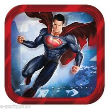 SUPERMAN MAN OF STEEL SMALL PAPER PLATES (8) ~ Birthday Party Supplies Cake DC