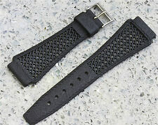Black 22mm Tropic band type nylon signed Golay Swiss vintage item from 1960s/70s