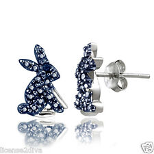 BLUE DIAMOND & STERLING SILVER EASTER EARRINGS! YEAR OF THE RABBIT! HARE! NEW!