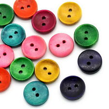 50PCs Wood Sewing Buttons 2 Holes Round Concave Mixed 15mm