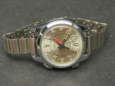 Vtg Sears Alarm Swiss Made TA Chrome Stainless Steel Wrist Watch