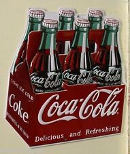 COCA COLA heavy embossed metal sign Coke carton 6 pack bottles die cut 2180041