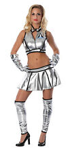 Sexy Astronaut Lady Costume Shiny Silver LIFT OFF Space Suit Adult SMALL 2 4 6