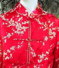 EXC Stunning Red and Gold Silk Brocade Womens Medium Chinese Jacket Asian Floral
