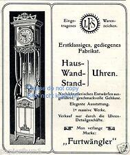 Furtwängler Uhren Reklame von 1903 Standuhr clock ad Werbung grandfather ad
