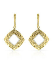 Gold Plated Sterling Hammered Dangle Hook Earrings $400 High Quality no stone