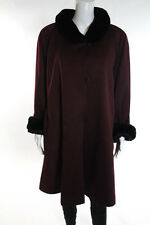 Phil M Stupp Wine Red Silk Nutria Lined 3/4 Length Coat Size 12 919 New