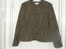 Ladies Vintage Brown Jacket Size 14 By Marks & Spencer Wool Mix Waist Boxy