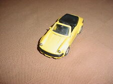 BRAND NEW DISPLAY CASE KEPT PORSCHE CARRERA CONVERTIBLE YELLOW 1/38 ZYMOL WAXED