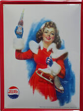 PLAQUE METAL PUBLICITAIRE vintage PEPSI COLA PIN UP PATINEUSE  - 40 X 30 cm