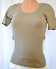Akris Knit Short Sleeves Cashmere/Silk Moss Color Top Size D 46 F 48 US 16