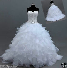 Beading Ruffles Bridal Gown White/Ivory Organza Wedding Dresses Ball Custom Size
