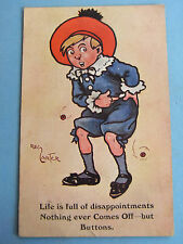 REG CARTER Postcard 1910s LIFE FULL DISAPPOINTMENT NOTHING COMES OFF BUT BUTTONS