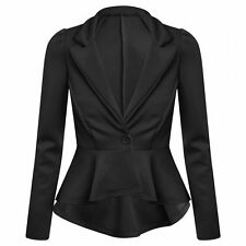 New Women's Ladies Crop Frill Shift Slim Fit Peplum Blazer Jacket Coat Size 8-26