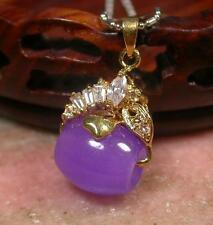 Gold Plate CHINESE Lavender JADE Pendant Circle Diamond (Imitation)  267954