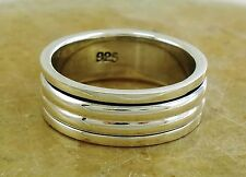 BEEFY .925 STERLING SILVER STACK BAND SPINNING RING size 10  style# r2089