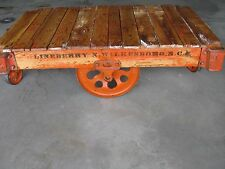 Lineberry Factory Cart Stencil Intact Orange Paint Accent Vintage Industrial
