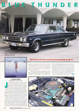 1967 PLYMOUTH BELVEDERE GTX 440/375-HP  ~  GREAT SINGLE-PAGE ARTICLE / AD
