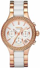 NEW DKNY NY8183 LADIES CHAMBERS ROSE GOLD CERAMIC WATCH - 2 YEAR WARRANTY