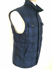 NWT BRUNELLO CUCINELLI  100 % Goose Down Men Blue Plaid Puffy Vest Jacket Size L
