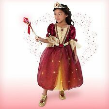 Girls Red BELLE Costume Dress Tiara Lightup Wand Child Medium 7 8 DIsney Store