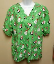 UA Scrubs MEDIUM green Christmas Holidays snowmen reindeer penguins winter