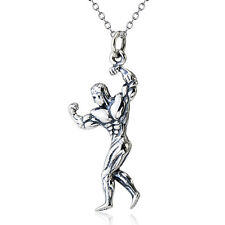 925 Sterling Silver Dumbbell Barbell Muscle Man Bodybuilder Fitness Gym Necklace