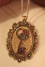 Striking Etch Festooned Violet Butterfly Cloisonne Godltone Pendant Necklace